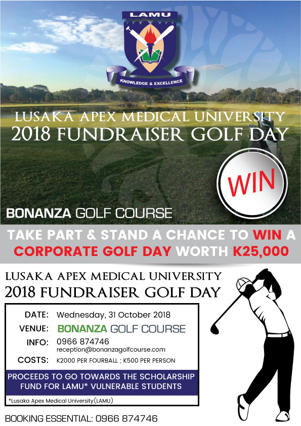 bonanza golf course, zambia, lusaka, golf day, corporate golf day, win, stand a chance, lusaka apex medical university